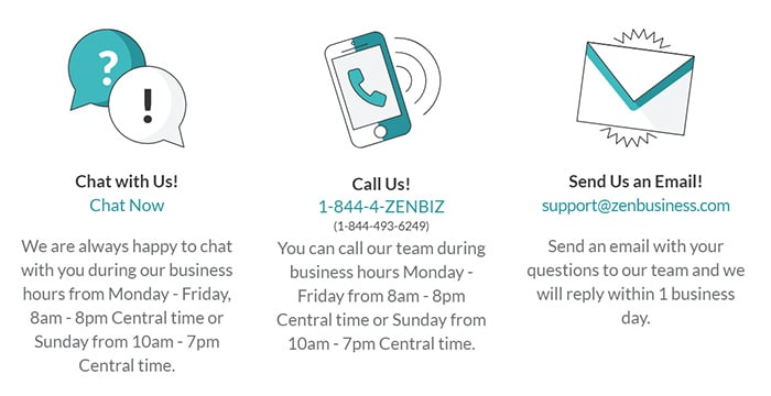 ZenBusiness Extended Customer Support Phone Email Chat