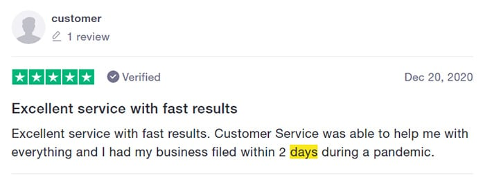 ZenBusiness Fast Filing Customer Review One
