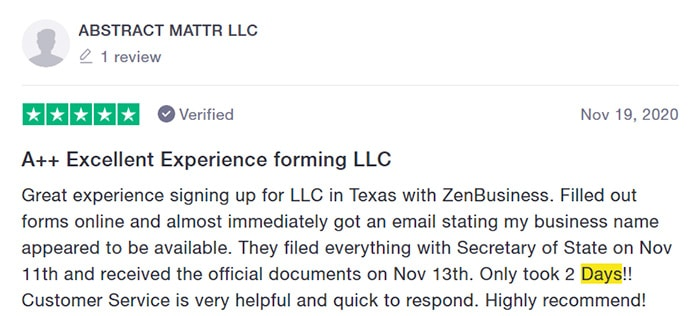 ZenBusiness Fast Filing Customer Review Two
