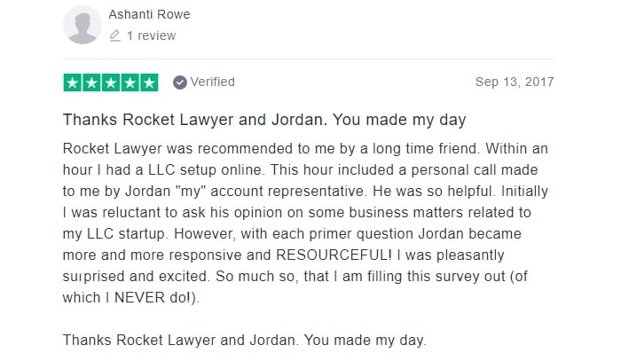 Rocket Lawyer Five Star Customer Review