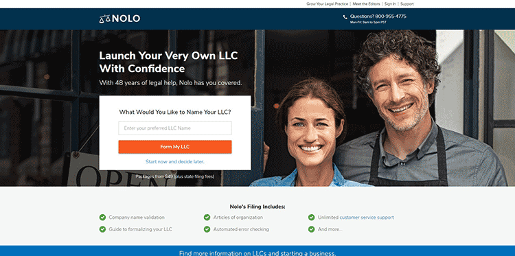 Nolo LLC formation main page