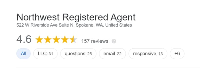 Northwest Registered Agent Google Reviews