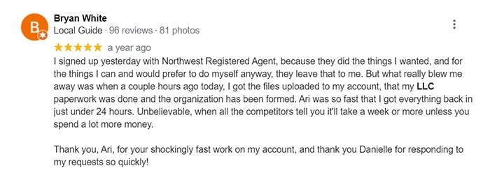 Northwest Registered Agent Same Day Filing Customer Review1