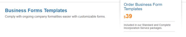 BizFilings form documents templates