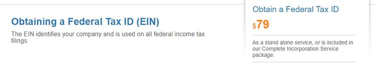 BizFilings federal Tax ID Service
