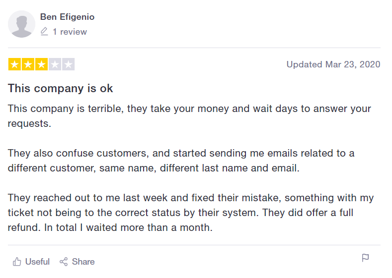 Incfile Trustpilot Review 3 stars
