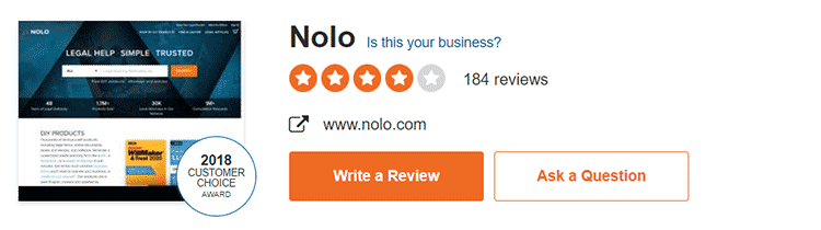 Nolo Sitejabber customer review ratings