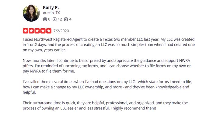 Northwest Registered Agent Same Day Filing Customer Review 2