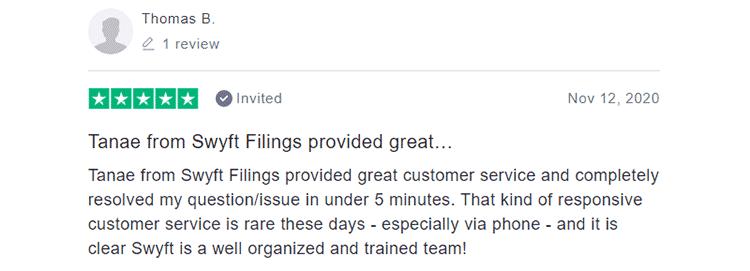 Swyft Filings Customer Feedback 2