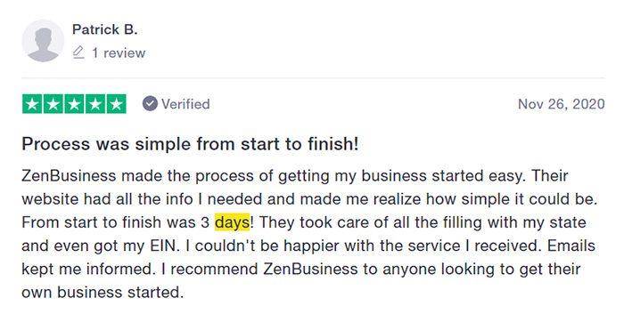 ZenBusiness Fast Filing Customer Review Four